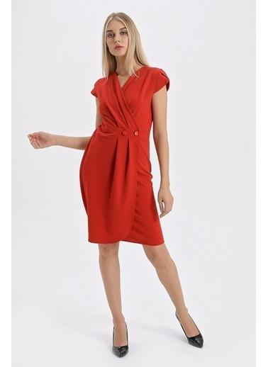 Jument Önü Pileli Kelebek Kol Elbise Kırmızı